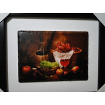 Quadro Porcelana Garrafa Vinho Queijo Taça Adega Parreiral