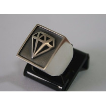 Anel De Prata Masculino C/ Símbolo Diamante