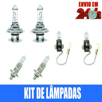 Kit Completo Lâmpada Vectra H7 H1 H3 Farol + Milha