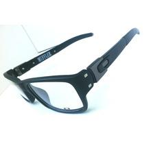 Armação Oculos Grau Muffler Cinza E Preto + Caixa + Saquinho