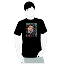Camisa 100% Algodão - Bob Marley Desenho Pintura Sorrindo
