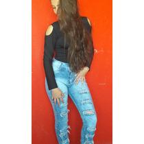 Calça Jeans Moda Feminina Com Detalhes Rasgos Com Lycra