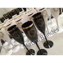Taça De Champanhe Borda Dourada