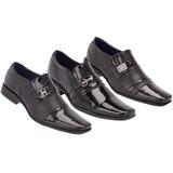 3 Pares De Sapato Verniz Social  Masculino Conforto Khaata