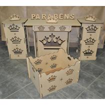 Kit Provençal Coroa Mdf - Mesa/cubo/caixa Presente/brinde