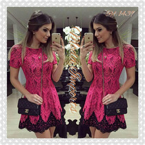 Ariane Canovas Vestidinho Em Renda Pink Drielle Importado