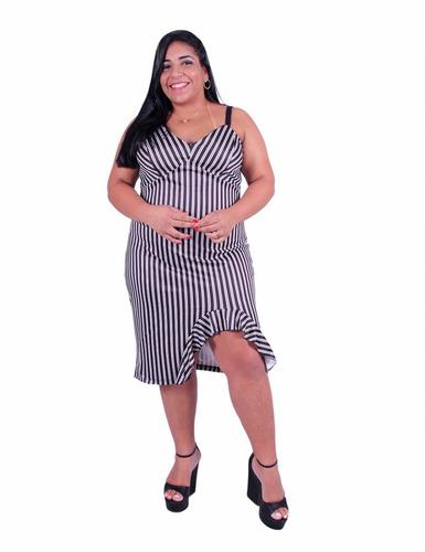 3b1b2c73256 Vestido Listrado Plus Size Ub-1590 - Asya Fashion