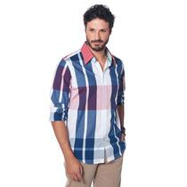 Camisa Slim Fit Bruno Conte Azul, Branca E Vermelha Xadrez