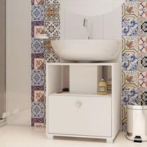 Balcão Para Banheiro Bbn 02-06 Branco - 1 Porta - Em Mdp