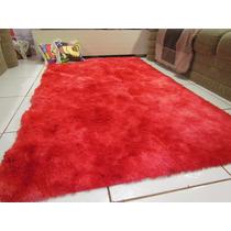 Tapete Sala Quarto 2,00x1,20 Peludo Vermelho Mesclado 4mm