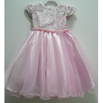 Vestido Princesa Rosa Infantil Festa Luxo Menina