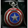 Relógio De Bolso Capitão América Guerra Civil Gravad + Caixa