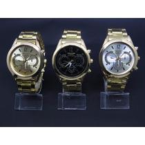 Kit 3 Relógios Masculino Preto Branco Dourado - Muito Barato