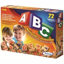 Brinquedo Pedagógico Madeira A B C Alfabeto 72 Peças