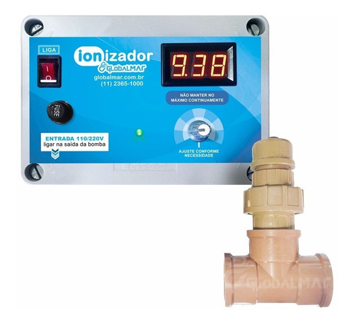 Ionizador Para Piscina Digital Tratamento Ions Cobre 40 Mtr
