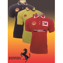 Kit C/ 5 Camisa Gola Polo Ferrari Masculina Bordada