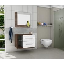 Gabinete/armário Banheiro Com Espelheira Milão Branco/avelã