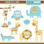 Kit Digital Safari Baby Cute Azul Chá Bebê Imagens Clipart