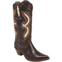 Bota Country Feminina Texana Lady Silver Casco De Tatu Couro