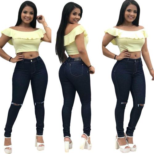 3566ba7fb Calça Jeans Feminina Levanta Modela Bumbum Estilo Pitbull
