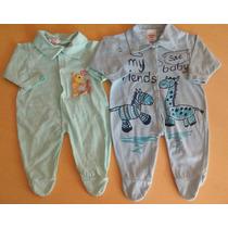 Lote Kit 2 Macacões Bebê Menino Novos Malha Tam. Rn