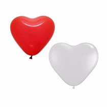 Balão Art-latex Coração Nº12 Vermelho E Branco Com 50