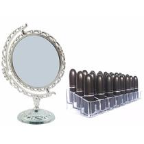 Kit Espelho Maquiagem Princesa + Porta Batom Em Acrílico 24