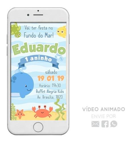 9ea843bdaa Convite Digital Animado Tema Fundo Do Mar Em Vídeo Virtual. R$ 39