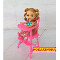 Cadeira Com Boneca Bebê Estilo Kelly * Irmã Da Barbie