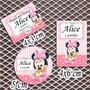 Kit Minnie Baby Rótulos Personalizados Adesivos 120 Unidades