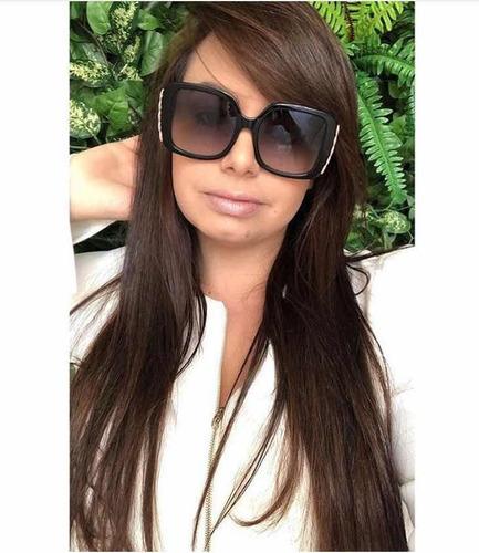 482292a58f067 Óculos Gucci Preto Com Dourado Original