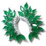 Mmb-brincos Ear Cuff Prata 925 Jade Tom Esmeralda Zirconias