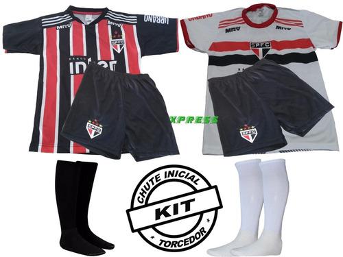 Camisa São Paulo 2018 Infantil Kit Com 2 Conjuntos E Meião 85262ca742e01
