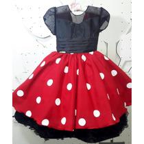 Vestido De Festa Infantil Minnie Vermelha 4 Ao 8 Com Tiara