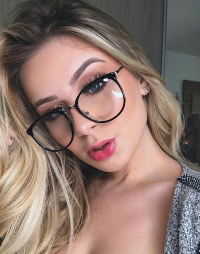 168e2016e Óculos Armação Nerd Geek Estiloso Feminino Grande Sem Grau
