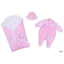 Saída Maternidade Plush Renda Rosa Reve Dor - Rn