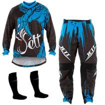 Kit Calça + Camisa Jett Collors Veneno Azul Motocross