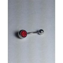 Piercing De Umbigo Com Strass Vermelho Aço Cirurgico 316l