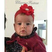 Faixa De Cabelo Bebê Renda Larga Flor