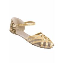 Sandália Rasteira Dourada Com Estampa Onça, Tamanho 37