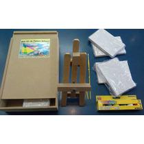 Mini Kit De Pintura Infantil - Estojo De Mdf Com 14 Itens