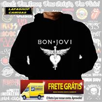 Blusa Moletom Bon Jovi Capuz Bolso Banda Camisa Moleton Rock