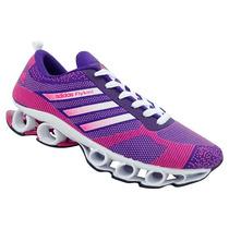 Tênis Feminino Adidas Flyknit Bounce Roxo E Rosa