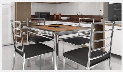 Mesa De Cozinha Em Aço Inoxidável E Cadeiras R 3790 En Melinterest