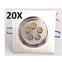 Kit 20 Spots Led 5w Alumínio - Quadrado - Bivolt Branco Frio