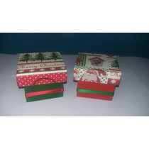 Caixa De Mdf Decorada De Natal-2 Unid. Tam. 5x6x6