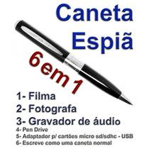 Caneta Filmadora Hd Câmera Espiã Tira Fotos E Filma C/ Áudio