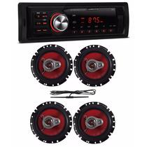 Toca Rádio Carro Mp3 Player Usb + 4 Auto Falantes + Antena