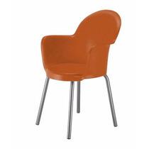 Cadeira Empilhavel Aluminio, Concha Em Polipropileno Laranja