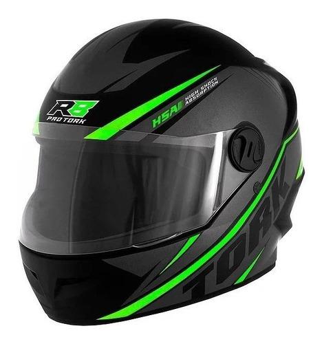 Capacete Para Moto Integral Pro Tork R8 Preto/verde Tamanho 56